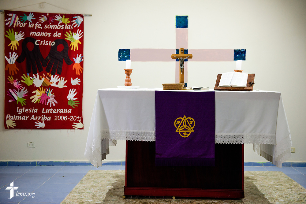A crucifix and altar in the chapel of the Concordia Reformer Lutheran Seminary and Mercy Center in Santiago, Dominican Republic, on Monday, March 20, 2017.  LCMS Communications/Erik M. Lunsford