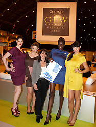 "© licensed to London News Pictures. Earl's Court, London UK  07/06/2011. ""All Walks"" ask universities to get ""Fashion Conscious"". Britain's first educational centre devoted to he promotion of diverse body shapes launches at Graduate Fashion Week. From left: Lucy Jane, Hayley Morley, Lynne Featherstone MP, Sheila Atim and Naomi Shimada.  Please see special instructions for usage rates. Photo credit should read Bettina Strenske/LNP"