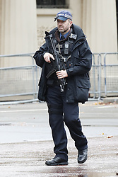 © Licensed to London News Pictures. 14/10/2019. London, UK. An armed police officer guards the route before Queen Elizabeth II rides the Diamond Jubilee Coach along The Mall to The Palace of Westmnster for the State Opening of Parliament. Photo credit: Peter Macdiarmid/LNP