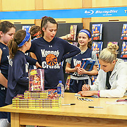 The Kennett Crush Players Olivia O'Hara (11), Bridget Mcmanamon (11), Emily O'Hara (11), Quinn Simmons (10) and Ellie C, Soriano (10) watch Elena Delle Donne signing their books Saturday, March 10, 2018, at Barnes and Noble in Wilmington Delaware.