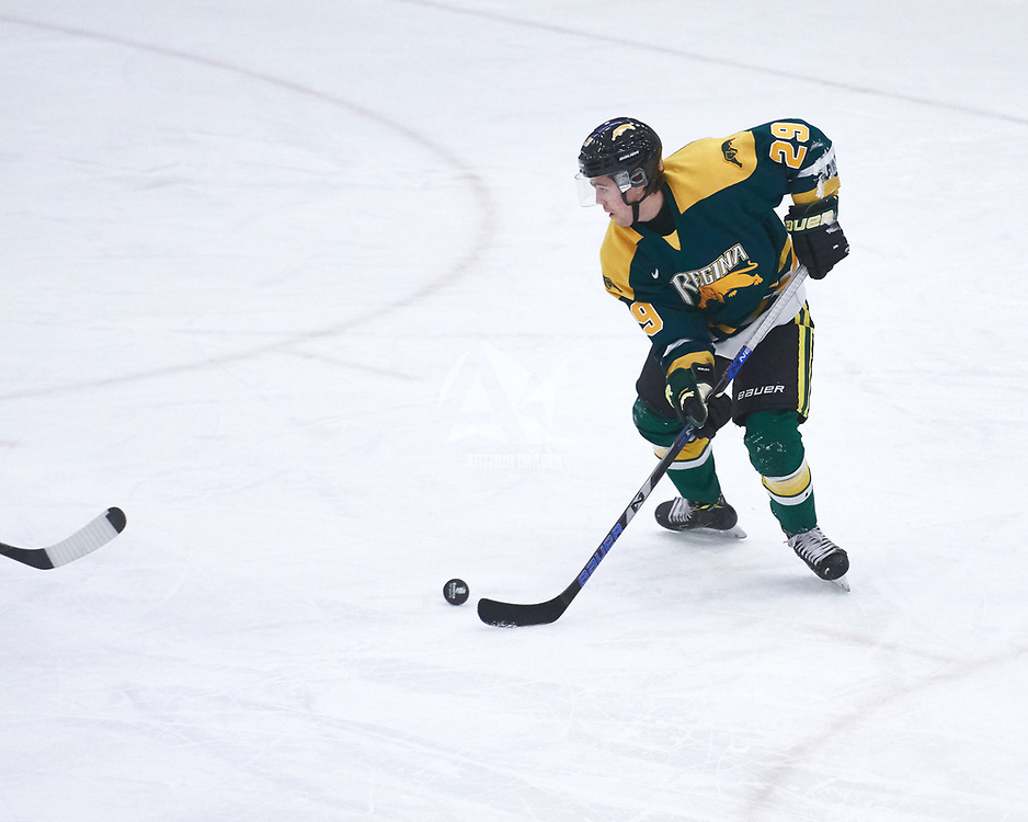 1st year forward, Tanner Campbell (29) of the Regina Cougars during the Men's Hockey Home Game on Fri Oct 12 at Co-operators Center. Credit: Arthur Ward/Arthur Images