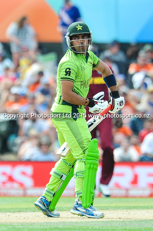 Umar Akmal of Pakistan during the ICC Cricket World Cup match between Pakistan and The West Indies at Hagley Oval in Christchurch, New Zealand. Saturday 21 February 2015. Copyright Photo: John Davidson / www.Photosport.co.nz