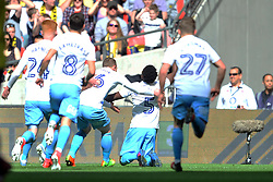 COVENTRY GAEL BIGIRIMANA CELEBRATES AFTER SCORING COVENTRYS FIRST GOAL, Coventry City v Oxford United, EFL Checkatrade Trophy Final, Wembley Stadium Sunday 2nd April 2017, <br /> Score Coventry 2-1 Oxford<br /> PhotoMike Capps
