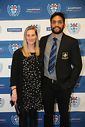 Waharai Waitohi and partner during the Auckland Rugby awards night held at Eden Park on the 25th of October 2017. <br /> Credit; Peter Meecham/ www.photosport.nz