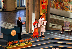 Kailash Satyarthi (1st R) and Malala Yousafzai (2nd R) present their medals during the Nobel Peace Prize awarding ceremony in Oslo, Norway, Dec. 10, 2014. Kailash Satyarthi and Malala Yousafzai, two child welfare activists from Indian and Pakistan respectively, on Wednesday received the 2014 Nobel peace prize. EXPA Pictures © 2014, PhotoCredit: EXPA/ Photoshot/ Liu Min<br /> <br /> *****ATTENTION - for AUT, SLO, CRO, SRB, BIH, MAZ only*****
