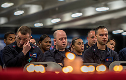 April 24, 2017 - Uss Bush, United States of America - U.S. Navy sailors observe a Holocaust remembrance ceremony in honor of the Days of Remembrance aboard the Nimitz-class aircraft carrier USS George H.W. Bush April 24, 2017 in the Arabian Gulf. The ship is deployed in operations against the Islamic State as part of Operation Inherent Resolve. (Credit Image: © David Mora/Planet Pix via ZUMA Wire)