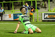 Forest Green Rovers Liam Shephard(2) scores a goal 2-0 and celebrates during the EFL Sky Bet League 2 match between Forest Green Rovers and Tranmere Rovers at the New Lawn, Forest Green, United Kingdom on 23 October 2018.