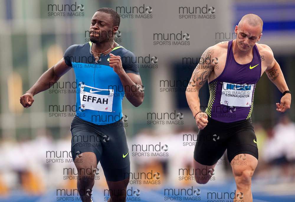 Toronto, Ontario ---10-07-31--- Sam Effah(L) leans to beat Jared Connaughton in the final of the mens 100 metres at the 2010 Canadian Track and Field Championships in Toronto, Ontario July 31, 2010.. GEOFF ROBINS/Mundo Sport Images.