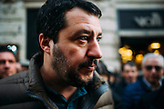 "Matteo Salvini, leader del partito Lega North durante la manifestazione ""Italia Sovrana"". Roma 28 Gennaio 2017. Christian Mantuano / OneShot<br /> <br /> Leader of Lega Nord Party Matteo Salvini during demonstration 'Italia sovrana', (Italy Sovereign) on January 28, 2017 in Rome, Italy, Rome 28 January 2017 . Christian Mantuano / OneShot"