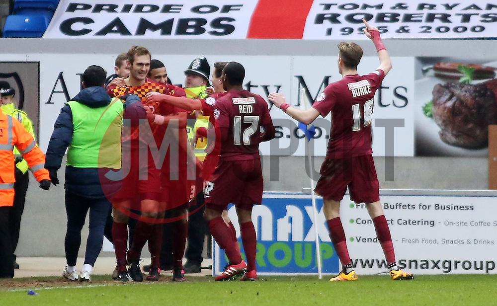 Bradford City's James Hanson (left) celebrates scoring his second goal of the game making it 3-0 - Mandatory byline: Joe Dent/JMP - 13/02/2016 - FOOTBALL - ABAX Stadium - Peterborough, England - Peterborough United v Bradford City - Sky Bet Championship