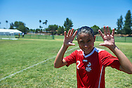 SO Poland athlete smiles while football women match 7-a-side during fourth day of the Special Olympics World Games Los Angeles 2015 on July 28, 2015 at Balboa Sports Centre in Los Angeles, USA.<br /> USA, Los Angeles, July 28, 2015<br /> <br /> Picture also available in RAW (NEF) or TIFF format on special request.<br /> <br /> For editorial use only. Any commercial or promotional use requires permission.<br /> <br /> Adam Nurkiewicz declares that he has no rights to the image of people at the photographs of his authorship.<br /> <br /> Mandatory credit:<br /> Photo by © Adam Nurkiewicz / Mediasport