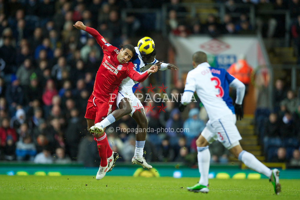 BLACKBURN, ENGLAND - Wednesday, January 5, 2011: Liverpool's Glen Johnson in action against Blackburn Rovers during the Premiership match at Ewood Park. (Pic by: David Rawcliffe/Propaganda)