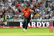 Chris Jordan of England looks excited after bowling his potential hatrick ball during the International T20 match between England and Australia at Edgbaston, Birmingham, United Kingdom on 27 June 2018. Picture by Graham Hunt.