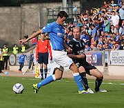 Dundee's Gary Irvine and St Johnstone's Brian Graham -  St Johnstone v Dundee, SPFL Premiership at McDiarmid Park<br /> <br />  - &copy; David Young - www.davidyoungphoto.co.uk - email: davidyoungphoto@gmail.com