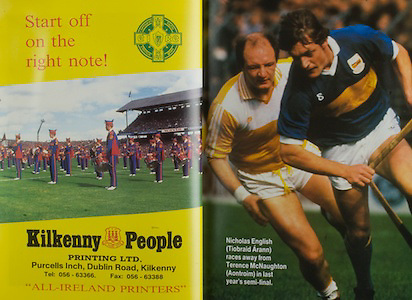 All Ireland Senior Hurling Championship Final,.03.09.1989, 09.03.1989, 3rd September 1989, .Antrim v Tipperary, .03091989AISHCF,.Tipperary 4-24, Antrim 3-9,..Kilkenny People, Printing LTD, Purcells Inch, Dublin Road, Kilkenny, Nicholas English Tipperary, Terence McNaughton, Antrim,