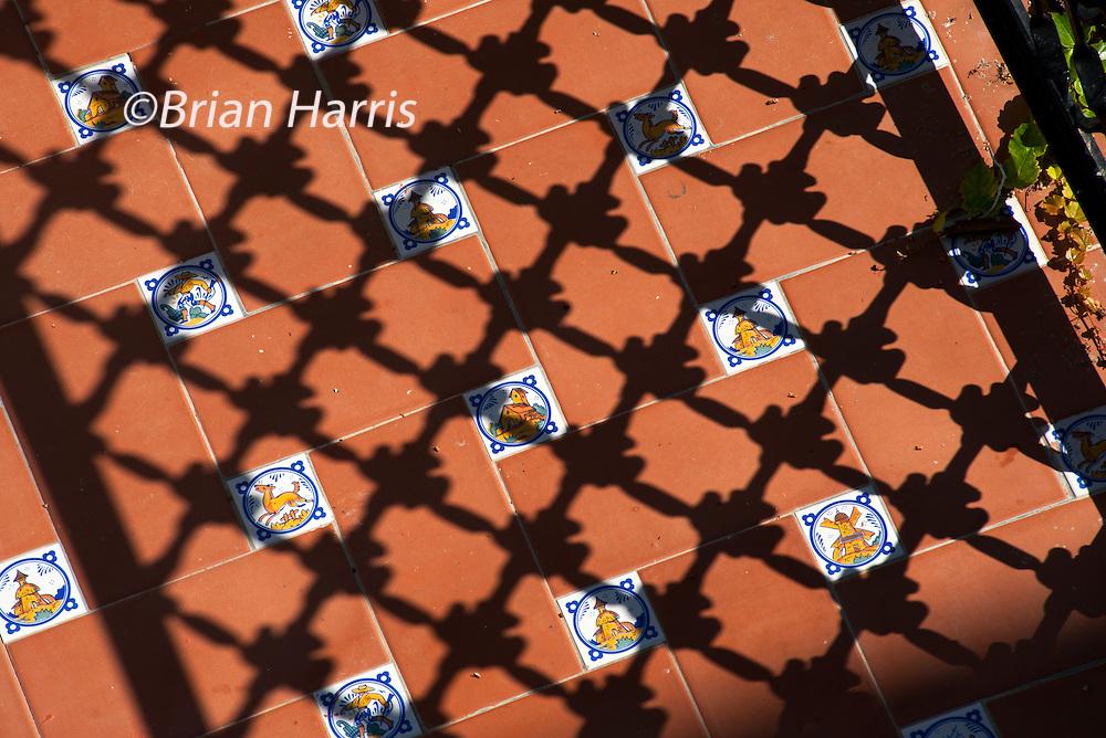 Spain Catalonia. Terrace of Gaudi designed Hotel Diana in Tossa de Mar. Sept 2014