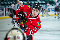 KELOWNA, CANADA - APRIL 8: Brad Ginnell #27 of the Portland Winterhawks warms up with a shot on net against the Kelowna Rockets on April 8, 2017 at Prospera Place in Kelowna, British Columbia, Canada.  (Photo by Marissa Baecker/Shoot the Breeze)  *** Local Caption ***