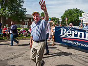 04 JULY 2019 - SLATER, IOWA: Senator BERNIE SANDERS (Ind-VT) marches in the 4th of the July parade in Slater, IA. Sen. Sanders marched in the 4th of July parade in Slater to support his bid to be the Democratic nominee for the US presidency in 2020. Iowa holds the first presidential selection event of the 2020 election cycle. The Iowa caucuses are on Feb. 3, 2020.         PHOTO BY JACK KURTZ