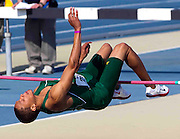 Norfolk State sophomore John James wins the Men's High Jump with a jump of 2.15 Meters at the 2011 MEAC Track and Field Championship held at North Carolina A&T in Greensboro, North Carolina.  (Photo by Mark W. Sutton)