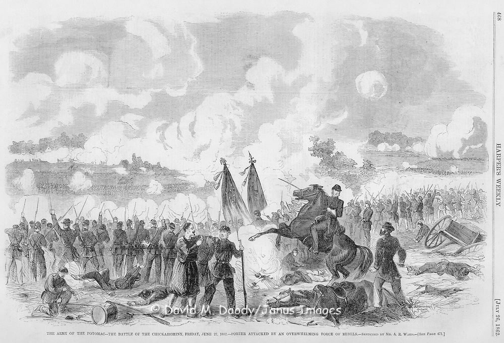 Civil War: Virginia SCENES IN AND ABOUT THE ARMY OF THE POTOMAC.--SKETCHED BY MR. A. R. WAUD.--[SEE PAGE 471.]. Harper's Weekly  July 26, 1862  The Battle of the Chickahominy (Union defeat) in the Peninsula Campain Friday June 27, 1862