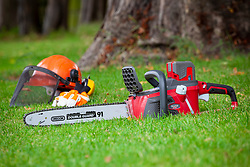 Chainsaw and safety helmet