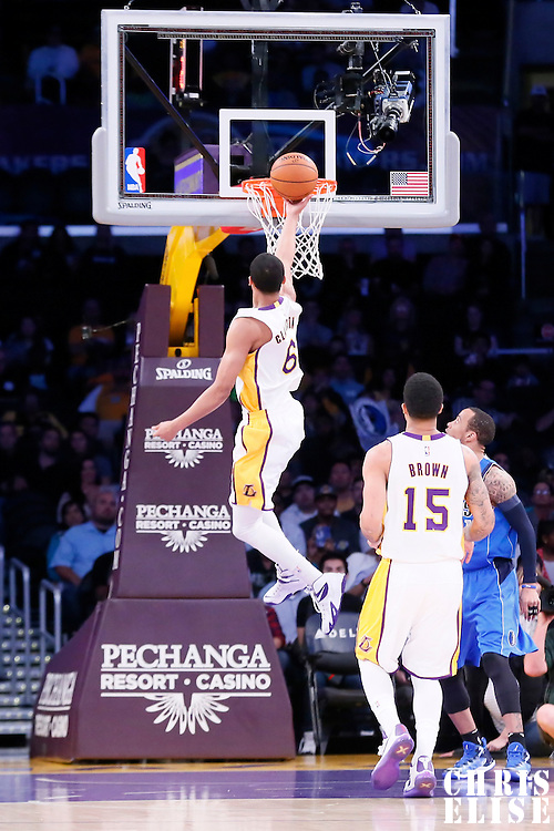 12 April 2014: Los Angeles Lakers guard Jordan Clarkson (6) goes for the layup during the Dallas Mavericks 120-106 victory over the Los Angeles Lakers, at the Staples Center, Los Angeles, California, USA.