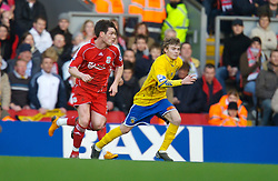 LIVERPOOL, ENGLAND - Saturday, January 26, 2008: Liverpool's Steve Finnan and Havant and Waterlooville's Alfie Potter during the FA Cup 4th Round match at Anfield. (Photo by David Rawcliffe/Propaganda)