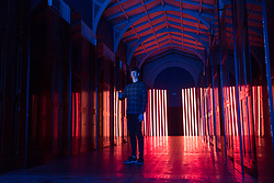 "© Licensed to London News Pictures. 15/09/2017. London, UK. Flynn Talbot presents his work ""Reflection Room"", an immersive light experience, made with 56 custom Barisol panels and LED strips, at the V&A museum in Kensington.  This work forms part of the London Design Festival, a programme of events and installations celebrating design taking place across the capital 16-24 September 2017.  Photo credit : Stephen Chung/LNP"