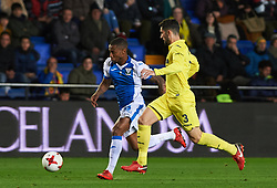 January 10, 2018 - Vila-Real, Castellon, Spain - Alvaro Gonzalez of Villarreal CF and Claudio Beauvue of Club Deportivo Leganes during the Spanish Copa del Rey, Round of 16, match between Villarreal CF and Club Deportivo Leganes at Estadio de la Ceramica on jenuary 10, 2018 in Vila-real, Spain. (Credit Image: © Maria Jose Segovia/NurPhoto via ZUMA Press)
