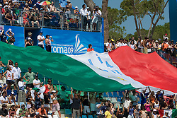 Italian fans with a big flag during the 13th FINA World Championships Roma 2009, on July 26, 2009, at the Stadio del Nuoto,  in Foro Italico, Rome, Italy. (Photo by Vid Ponikvar / Sportida)