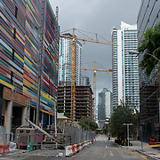 SEPTEMBER 9, 2017--MIAMI--FLORIDA<br /> A photo of construction cranes looming large over residential and commercial structures  in Miami's Brickell  neighborhood on Saturday morning. <br /> (Photo by Angel Valentin)