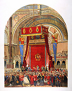 Opening of the International Exhibition of 1862 in the Crystal Palace by Queen Victoria's cousin, George, Duke of Cambridge. Chromolithograph, London, August, 1862.