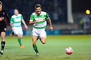 Yeovil Town's Ryan Dickson working hard to chase down the ball during the The FA Cup Third Round Replay match between Yeovil Town and Carlisle United at Huish Park, Yeovil, England on 19 January 2016. Photo by Graham Hunt.