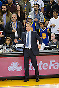 Golden State Warriors head coach Steve Kerr coaches from the sideline during a game against the Atlanta Hawks at Oracle Arena in Oakland, Calif., on November 28, 2016. (Stan Olszewski/Special to S.F. Examiner)