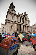 Views of tents at Occupy London protest outside St Pauls Cathedral in Central London on October 31st 2011..The Dean of St. Paul's Cathedral in London on Monday became the second high-profile clergy member to step down amid mounting controversy over anti-capitalist protests on the church's grounds.