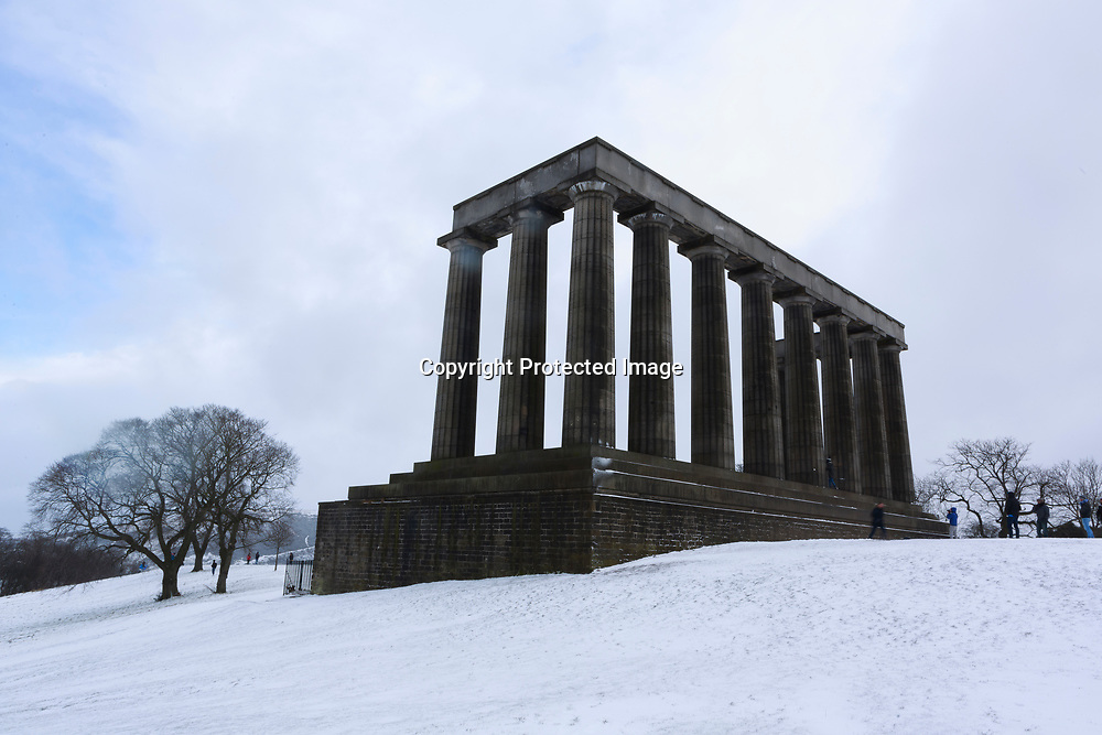 Edinburgh, Scotland 28th February 2018. Calton Hill covered of snow as temperature are below 0 degree.                                                                                                                                 Pako Mera