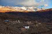 Tashi Gang Village of Spiti, Himachal Pradesh, India on a cold autumn evening