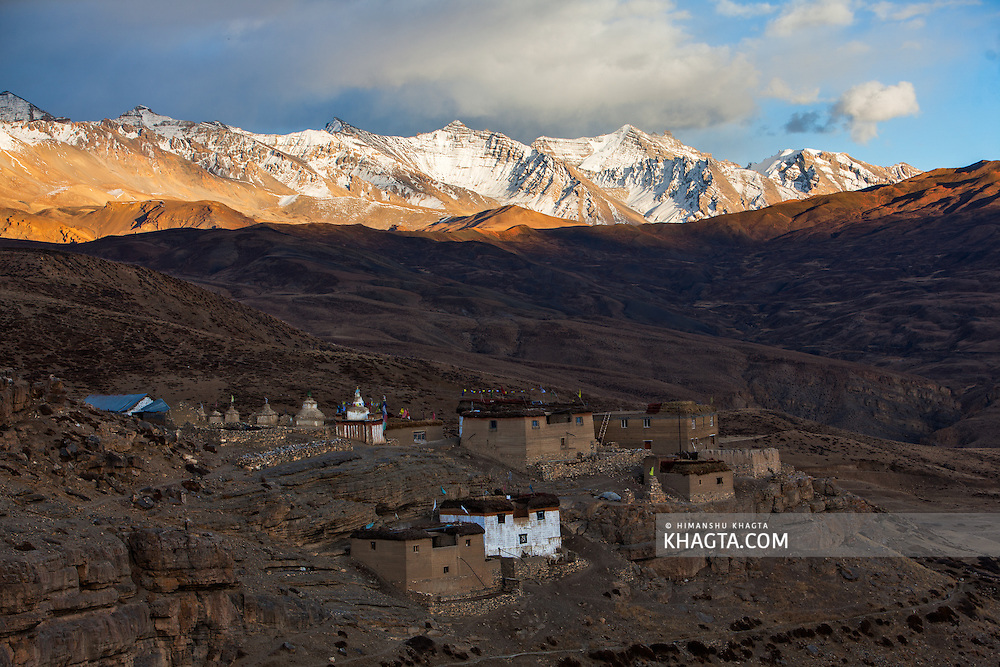 Tashi Gang Village of Spiti, Himachal Pradesh, India on a cold autumn evening