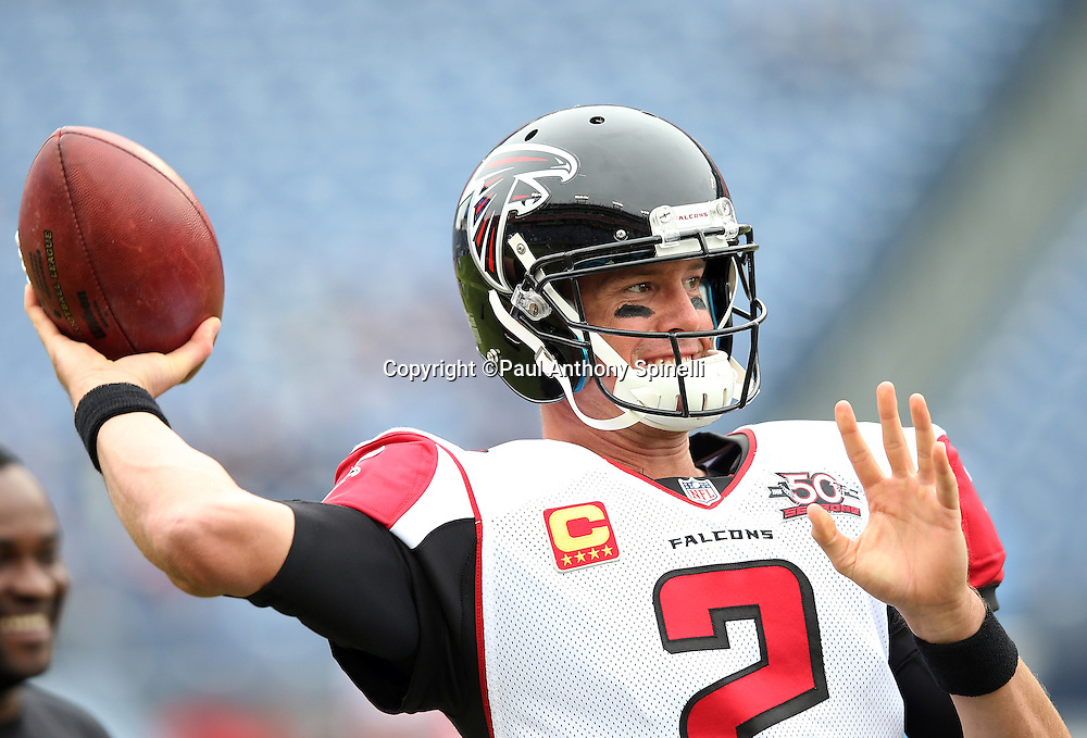 Atlanta Falcons quarterback Matt Ryan (2) throws a pregame pass while warming up before the 2015 week 7 regular season NFL football game against the Tennessee Titans on Sunday, Oct. 25, 2015 in Nashville, Tenn. The Falcons won the game 10-7. (©Paul Anthony Spinelli)