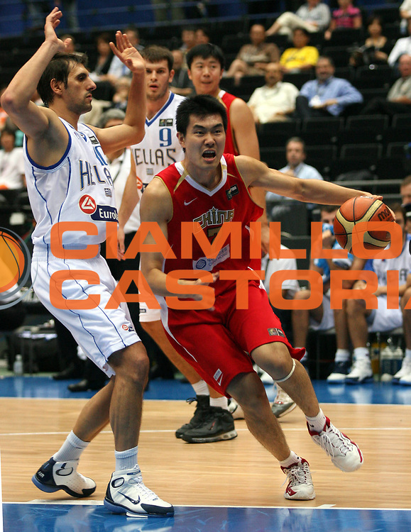 DESCRIZIONE : Saitama Giappone Japan Men World Championship 2006 Campionati Mondiali Greece-China <br /> GIOCATORE : Wang <br /> SQUADRA : China Cina <br /> EVENTO : Saitama Giappone Japan Men World Championship 2006 Campionato Mondiale Greece-China <br /> GARA : Greece China Grecia Cina <br /> DATA : 27/08/2006 <br /> CATEGORIA : Penetrazione <br /> SPORT : Pallacanestro <br /> AUTORE : Agenzia Ciamillo-Castoria/M.Metlas <br /> Galleria : Japan World Championship 2006<br /> Fotonotizia : Saitama Giappone Japan Men World Championship 2006 Campionati Mondiali Greece-China <br /> Predefinita :