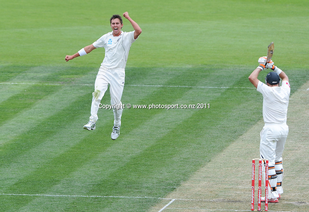Trent Boult celebrates his debut wicket by dismissing Michael Hussey on Day 2 of the second cricket test between Australia and New Zealand Black Caps at Bellerive Oval in Hobart, Saturday 10 December 2011. Photo: Andrew Cornaga/Photosport.co.nz