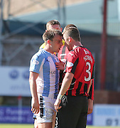 St Johnstone&rsquo;s Thomas Scobbie and Dundee's Paul McGowan square up to each other - Dundee v St Johnstone, SPFL Premiership at Dens Park <br /> <br />  - &copy; David Young - www.davidyoungphoto.co.uk - email: davidyoungphoto@gmail.com