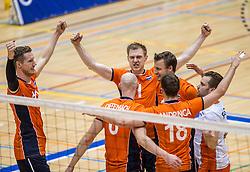 05-06-2016 NED: Nederland - Duitsland, Doetinchem<br /> Nederland speelt de laatste oefenwedstrijd ook in  Doetinchem en speelt gelijk 2-2 in een redelijk duel van beide kanten / Kay van Dijk #12, Daan van Haarlem #1, Jeroen Rauwerdink #10, Dirk Sparidans #5