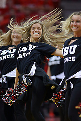 19 February 2017:  Redbird Redline Dancers during a College MVC (Missouri Valley conference) mens basketball game between the Loyola Ramblers and Illinois State Redbirds in  Redbird Arena, Normal IL