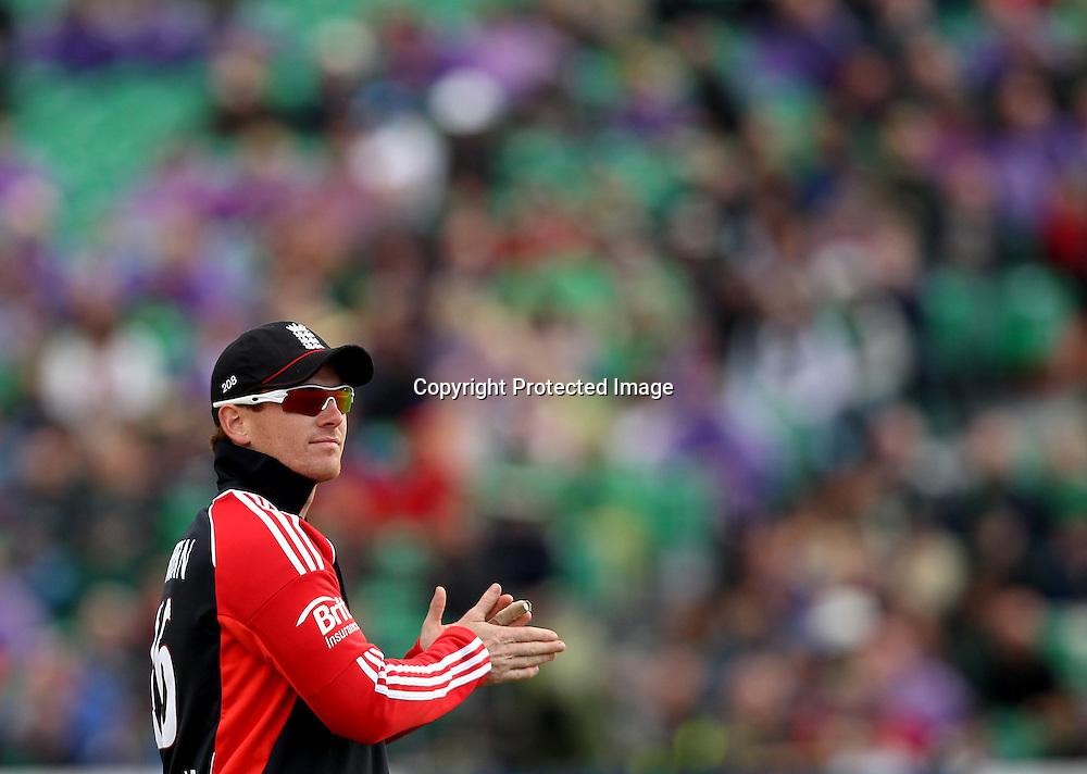 RSA Challenge ODI, Clontarf Cricket Club, Dublin, 25/8/2011<br />Ireland vs England<br />England captain Eoin Morgan<br />Mandatory Credit &copy;INPHO/James Crombie  *** Local Caption ***