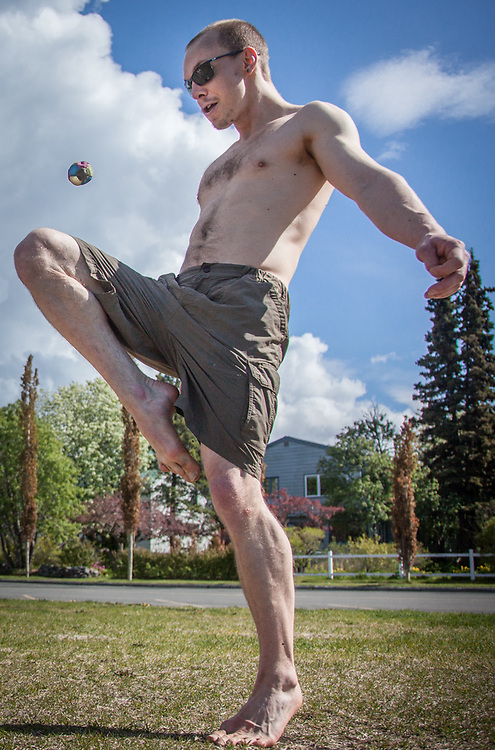 Noah Hagen and Bryce Peterson play Hacky Sack at the west end of the Delaney Park Strip on a beautiful Memorial Day in Anchorage.  bryce.petersen1@gmail.com