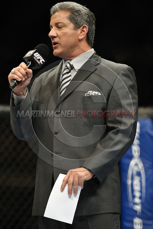 "LONDON, ENGLAND, OCTOBER 2010: Bruce Buffer during ""UFC 120: Bisping vs. Akiyama"" inside the O2 Arena in Greenwich, London"