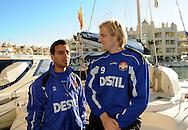 07-01-2009 Voetbal:Willem II:Trainingskamp:Torremolinos:Spanje<br /> Willem II ging vanochtend met een catamaran de open zee op in Spanje. <br /> Frank Demouge (R) en Said Boutahar (L) vlak voor zij aan boord gaan in Belmadena<br /> Foto: Geert van Erven