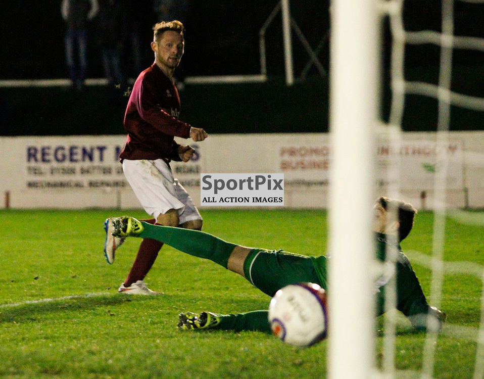 Linlithgow's Ruari MacLEnnan slides home his sides 5th goal to book thier place in the next round of the William Hill scottish cup after a 5-1 win over Wick tonight at Linlithgow