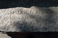 The name of Bridget Bishop, who was accused of being a witch is carved in stone, Salem Massachusetts, New England, North America, USA